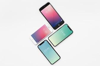 Mockup of various smartphones