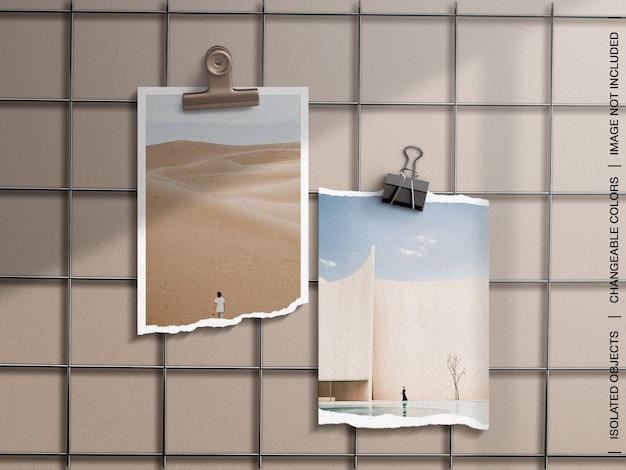 찢어진 종이 액자가있는 벽 무드 보드 프리젠 테이션의 모형