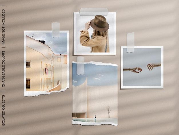 찢어진 테이프 종이 사진 프레임이있는 벽 무드 보드의 모형