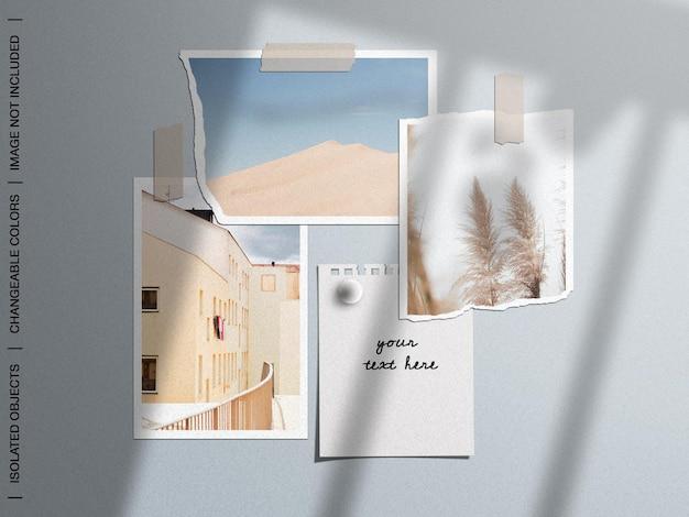 찢어진 테이프 종이로 벽 무드 보드의 모형