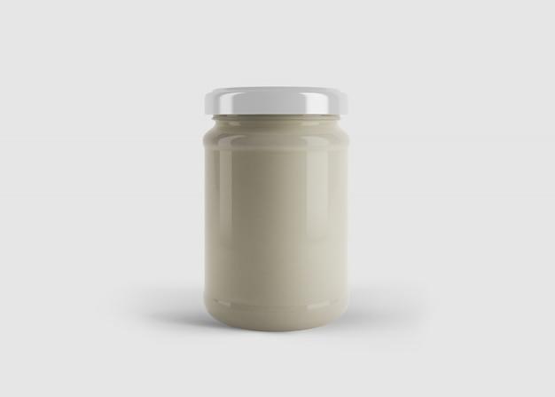 깨끗한 스튜디오 장면에서 사용자 정의 모양 레이블이있는 흰색 마요네즈 또는 소스 병의 모형