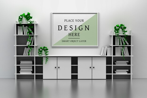 Mockup of office interior with cabinet, book shelves, empty blank picture frame and potted plants