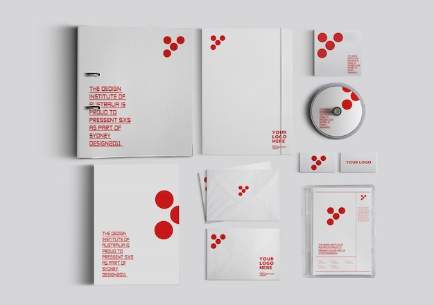 Mockup office supplies cd book notebook and letter