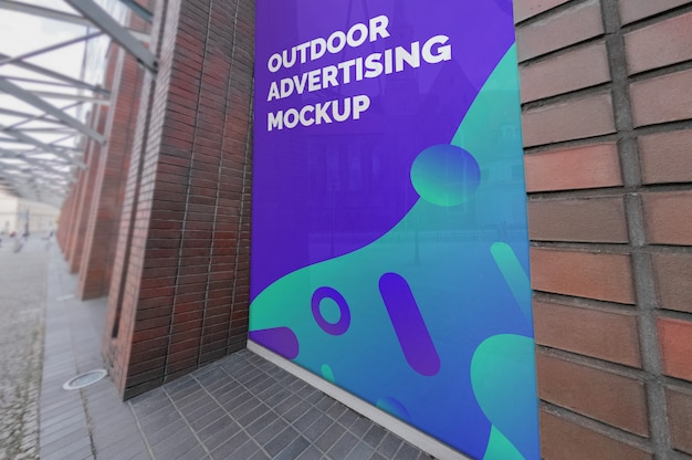Mockup of outdoor vertical advertising on window