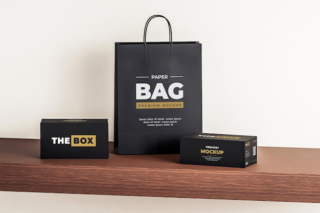 Мокап бумажный мешок коробка черный покупки