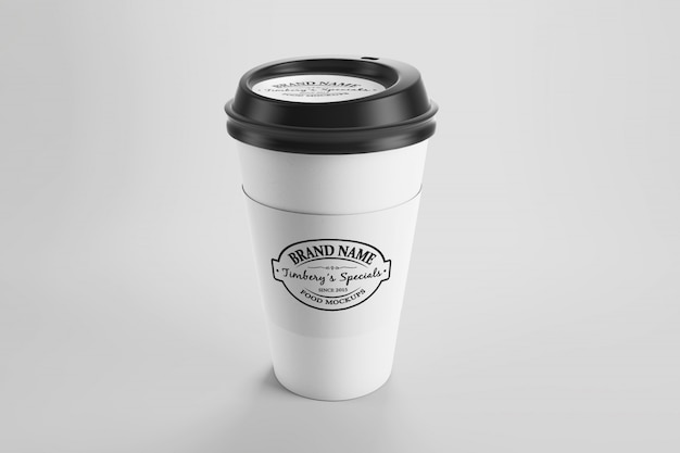 Mockup of paper eco coffee cup with sticker and cap