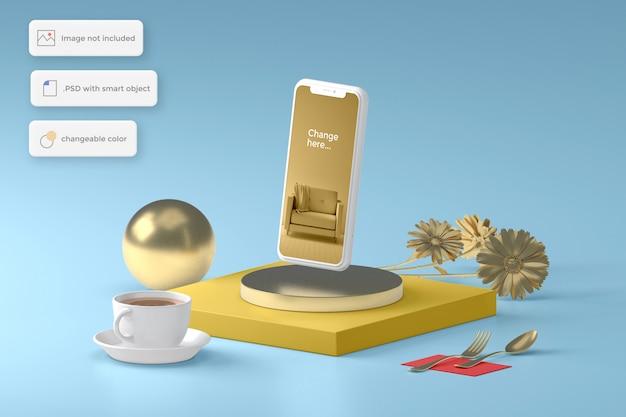 Макет телефона с золотым предметом