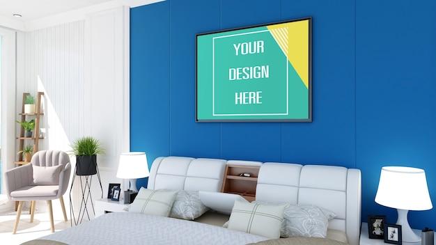Mockup photo frame on bedroom wall