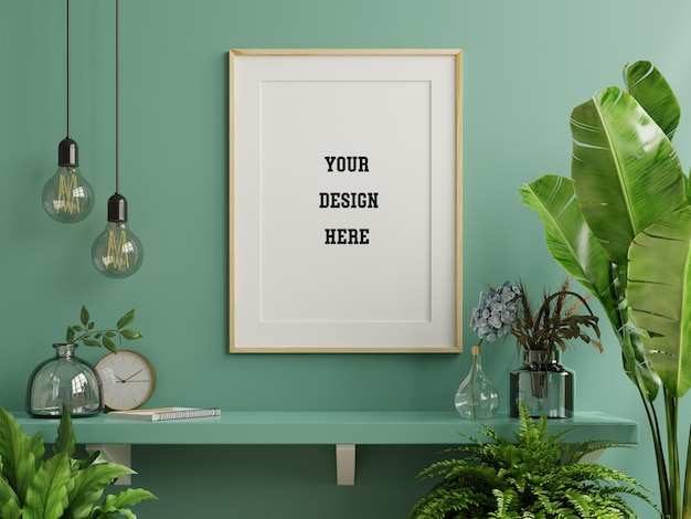 Mockup photo frame on the green shelf with beautiful plants, 3d rendering