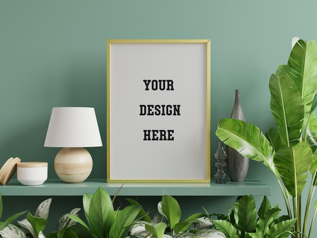 Mockup photo frame on the green shelf with beautiful plants