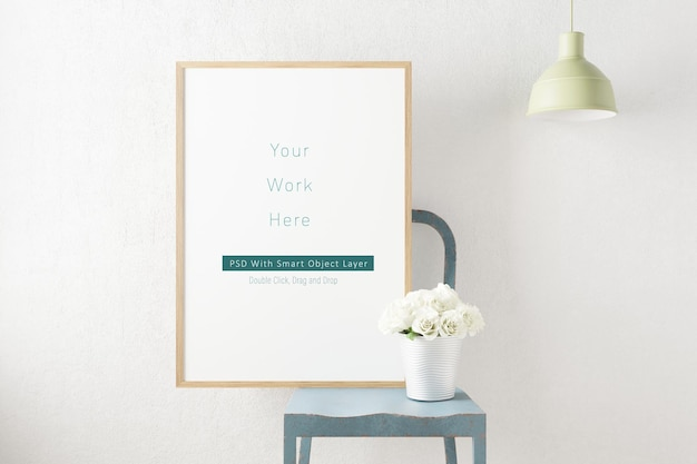 Mockup photo frame minimal scandinavia decoration in 3d rendering