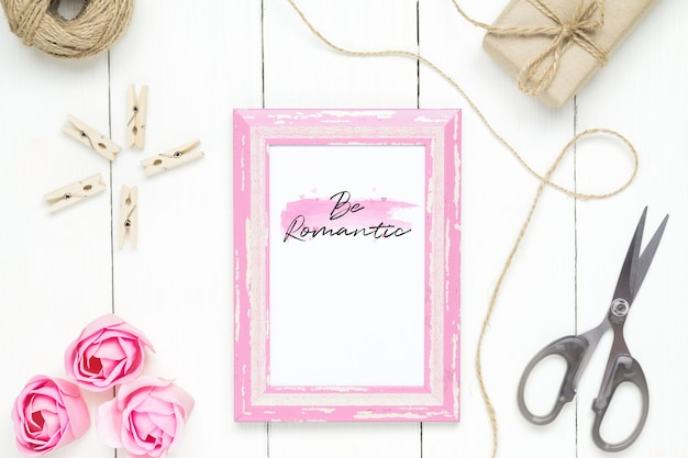 Mockup photo frame for valentines day concept.