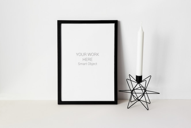mockup photo frame with candle
