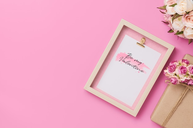 Mockup photo frame with craft present boxes