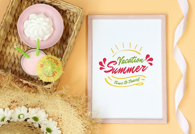 Mockup photo frame with summer cocktail on orange background