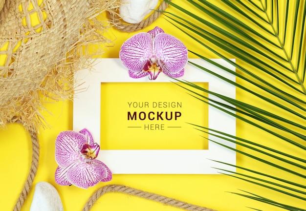 Mockup photo frame on yellow
