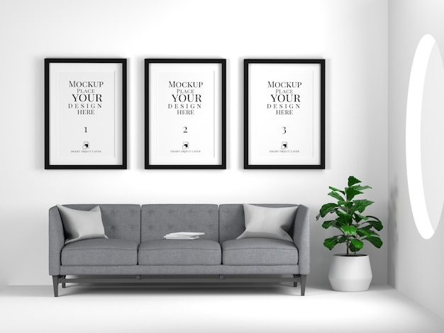 Mockup of photo frames hanging on wall