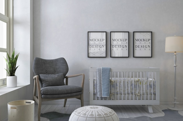 Mockup photo frames in white baby's room with grey arm chair