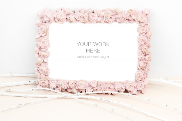 Mockup photo with pink rose flower