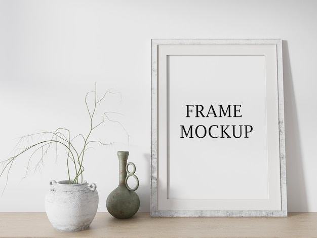 Mockup picture frame leaning against wall