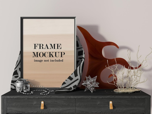 Mockup picture frame surrounded by home accessories