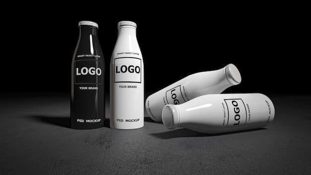 Изображение модель-макета перевода 3d белых и черных бутылок.
