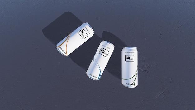 白と銀の缶の3dレンダリングのモックアップ画像。デザインをカスタマイズするためのスマートオブジェクトレイヤー。