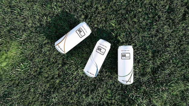 緑の草の上に置かれた白い缶の3dレンダリングのモックアップ画像。デザインをカスタマイズするためのスマートオブジェクトレイヤー。