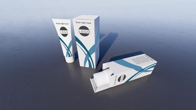 흰색 거품 튜브와 상자의 3d 렌더링 모형 사진. 디자인을 사용자 정의하기 위한 스마트 개체 레이어.