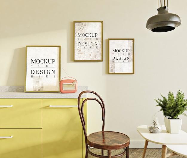 식사 세트와 사이드 의자가있는 현대 부엌의 모형 사진