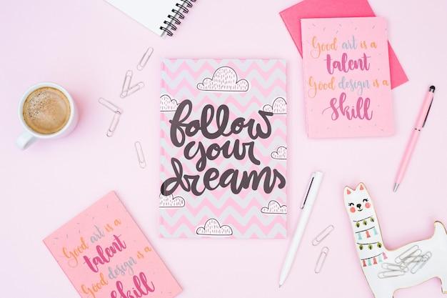 Mockup of pink cards