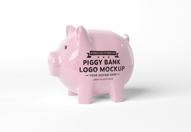 A mockup of a pink piggy bank