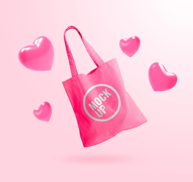 Mockup pink tote bag with heart balloon advertising