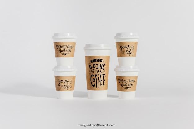 Mockup of plastic coffee cups