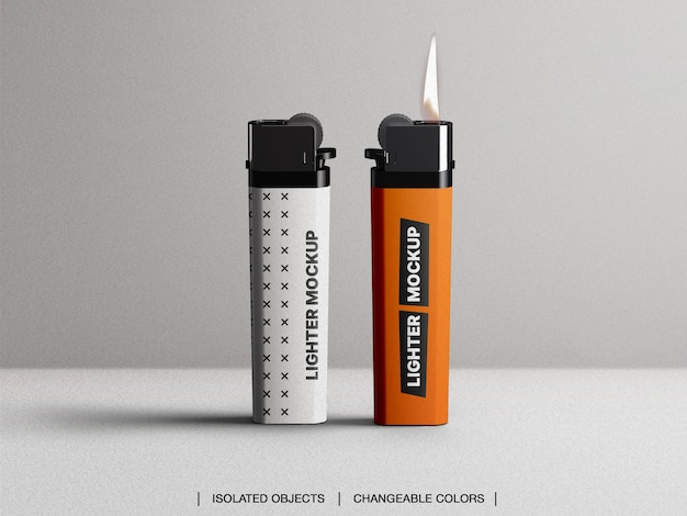 Mockup of plastic gas lighter with flame isolated