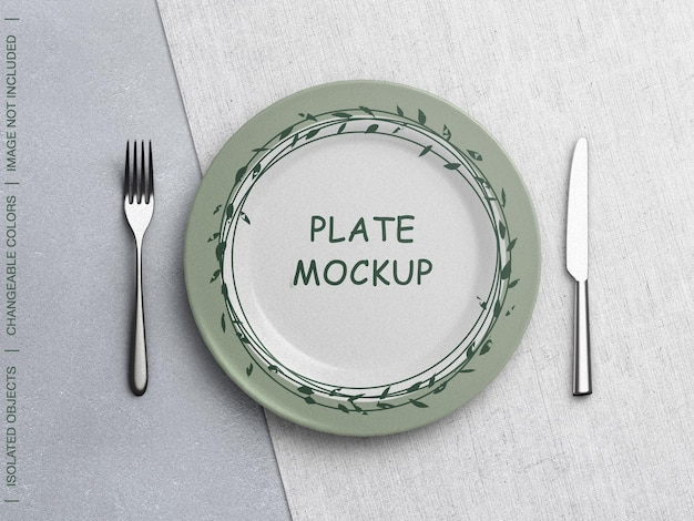 Mockup of plate with tableware scene creator isolated