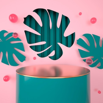 Mockup, podium, display with monstera leaves tropical plant background, 3d render