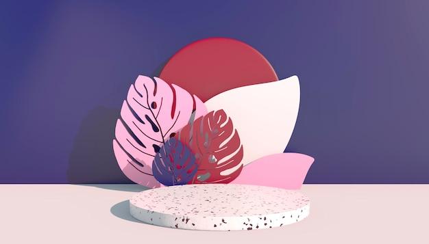 Макет, подиум, дисплей с фоном тропических растений из листьев монстеры, 3d визуализация