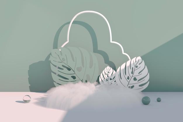 모형, 연단, 몬스테라가 있는 디스플레이 열대 식물 배경, 3d 렌더링