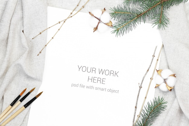 Mockup postcard with brush and cotton