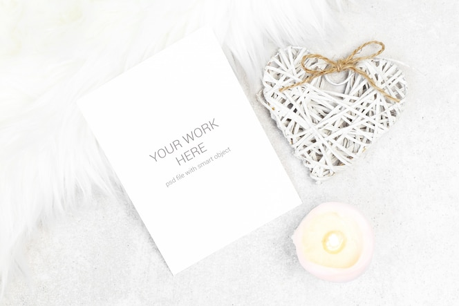 mockup postcard with candle and heart