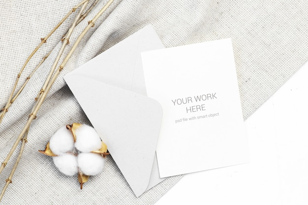 Mockup postcard with cotton and envelope