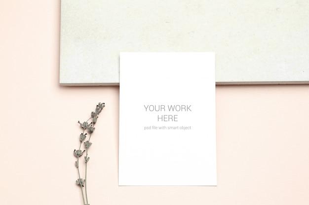 Mockup postcard with sprig of lavender