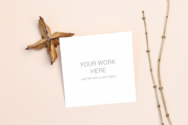 Mockup postcard with wood branch