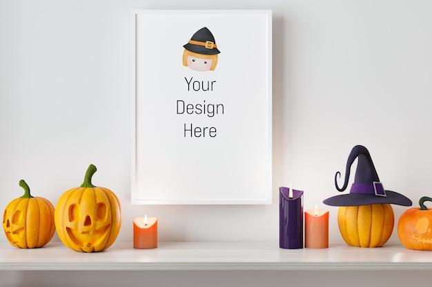 Макет плаката и фоторамка с оформлением фестиваля хэллоуин