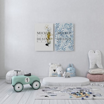 Mockup poster canvas in  white simple children bedroom