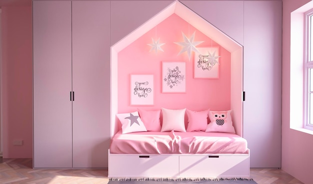 星の電球が付いているモックアップのポスターの子供のピンク色の部屋