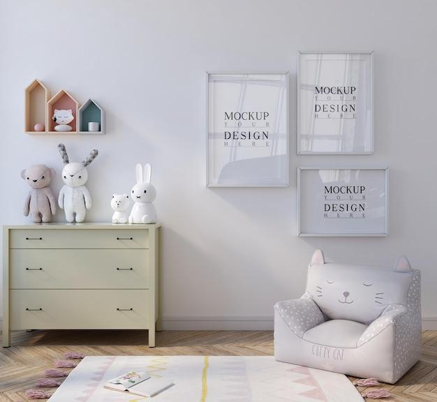 Mockup poster in cute white kids bedroom