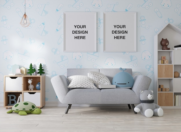 Mockup poster frame in children room 3d rendering