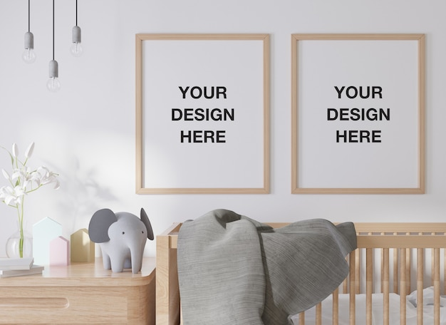 Mockup poster frame in children room kids room